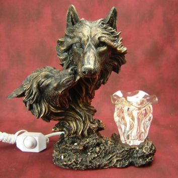 Brown Wolf Heads Table Fragrance Aroma Lamp Oil Diffuser Wax Tart Candle Warmer Burner Home Decor