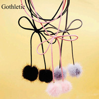 Gothletic Fashion Black/Grey/Pink Fur Ball Pom Pom Chocker Multilayer Wrapped Suede Ribbon Bow Sexy Bolo Necklaces & Pendants