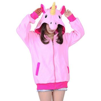 New 2017 Women Hoodies Novelty Cartoon Unicorn Sweatshirts Women Zip-up Fleece Hoodies Girl Autumn Winter Cute Hooded Jacket