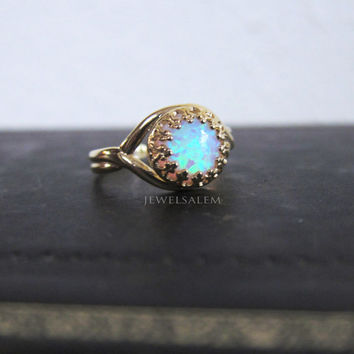 Fire Opal Ring Oxidized Sterling Silver Gold Vintage Style Ombre Aqua Turquoise Ring Antique Gift for Sister Friendship Best Friend