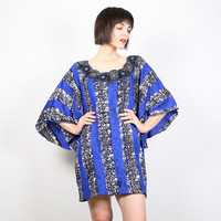 Vintage Blue Black Dress Mini Dress Caftan Kaftan Hippie Dress Kimono Sleeve Dress Embroidered Ethnic Festival Boho Dashiki Dress L Large XL