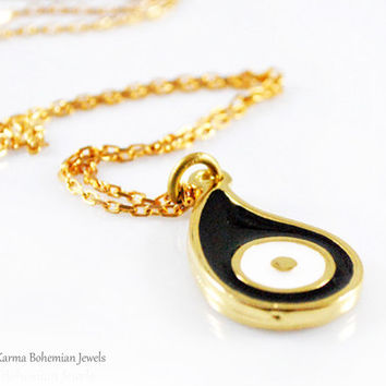 Black Gold Evil Eye Necklace. Long Simple Necklace. Black evil eye pendant. Large Evil Eye Necklace. Gold long chain necklace