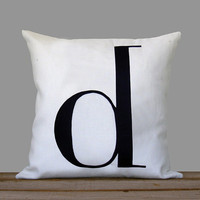 Personalized Initial Pillow | 18x18 | Monogram Pillow by JillianReneDecor | Typography Pillow | Black and White | Father's Day | Dad Gift