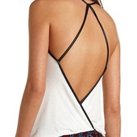 FAUX LEATHER TRIM STRAPPY OPEN BACK TOP