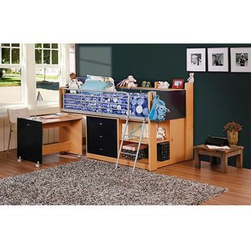 Savannah Storage Loft Bed with Desk, Navy and Natural - Walmart.com