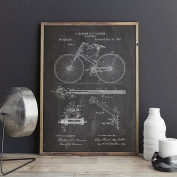 Bicycle Patent Print, Bicycle Poster, Antique Bicycle Art, Bicycling Wall Art, Bicycle Wall Art, Bicycle Wall Print, Bike, INSTANT DOWNLOAD