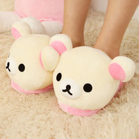 Womens Soft Cute Rilakkuma Bear Big Head Indoor Slippers Non Slip Home Shoes
