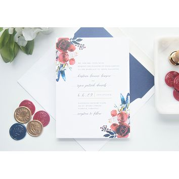 Red and Navy Floral Vellum and Wax Seal Wedding Invitation - SAMPLE SET