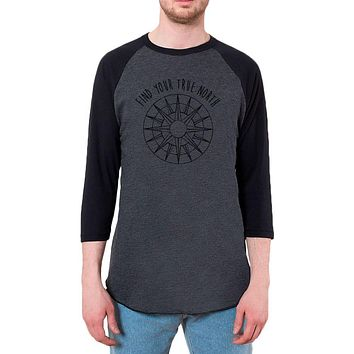 Hiking Outdoors Find Your True North Mens Raglan T Shirt