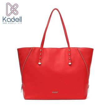 Kadell Women Leather Handbags Personality Side Zippers Designer Bags Famous Brand Red Casual Tote Rivet Bucket Shoulder Bag