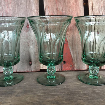 Vintage FOSTORIA Jamestown green ice tea goblets, SEVEN available, vintage Fostoria glassware, tall green parfait glasses, water glasses