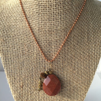 Copper Goldstone, Rust Sparkly Faceted Necklace, Orange Beaded Jewelry, #N116