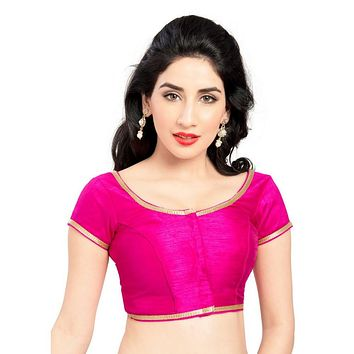 Designer Indian Traditional Pink Brocade Silk Padded  Half Sleeves Saree Blouse Choli (Co-193Sl)