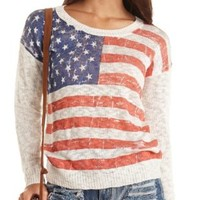 American Flag Print Pullover Sweater by Charlotte Russe - Ivory Combo