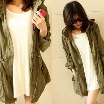 Womens Hooded Drawstring Army Green Military Jacket Trench Parka Coat [7652243462]
