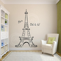 Eiffel Tower Ooh La La Paris vinyl lettering wall saying decal sticker decor kids room nursery