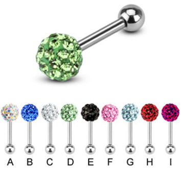 Steel cartilage straight barbell with crystal paved ball, 16 ga