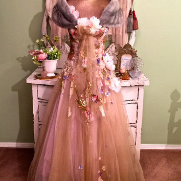 Fantasy Wedding Prom Gown, Shabby Mink Shawl, Fairy Princess Dress, Unique Paris Altered Couture, Pink Champagne Tulle, Swarovski Crystals