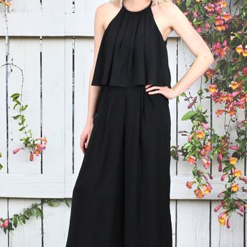 Celebrity Status High Neck Flutter Jumpsuit {Black}