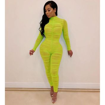 Women Ruched Mesh Sheer Long Sleeve Neon Thin Summer Jumpsuit