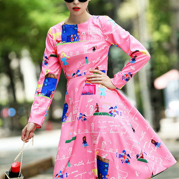 Pink Long Sleeve Cartoon Print High Waist A-Line Midi Dress