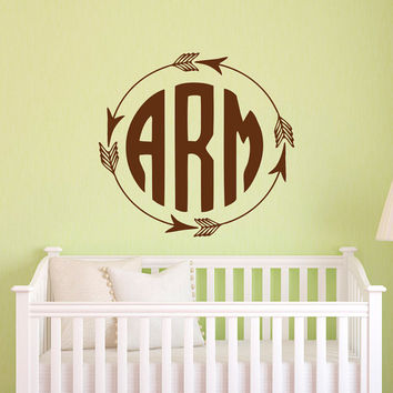 Rustic Monogram Wall Decal Arrow Vinyl Personalized Initials Letters
