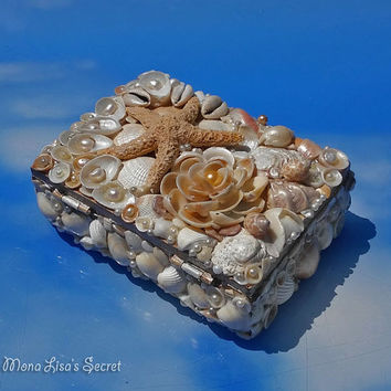 Seashell Jewelry Box, Beach Style Shell Chest, Coastal Decor Box, Beach Style Wedding Box, Beach Wedding Decoration, First Communion Gift