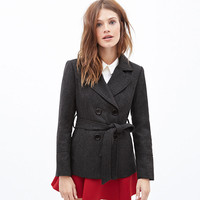 Gray Double-Breasted Lace Tie Wool Coat