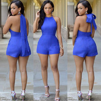 High Waist Women's Fashion Backless Romper = 5861629057
