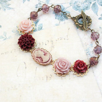 Flower Bracelet, Lady Face Cameo Bracelet, Deep Red Wine Dahlia Chrysanthemum, Pink Rose, Purple Glass Bead, Vintage Style Jewellery