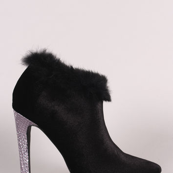 Shoe Republic LA Velvet Faux Fur Pointy Toe Stiletto Booties | UrbanOG