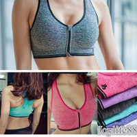 Women's Zip Sports Bra Wirefree Yoga Bras Tank Top Zip Shakeproof High Intensity Push Up = 1932860036