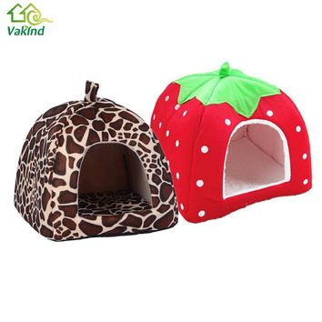 Soft Pet Cat House Leopard Strawberry Dog Bed Cute Animal Nest Foldable Puppy Dog Kennel Cat Bed High Quality