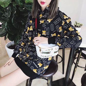 ONETOW Moschino' Women Fashion Letter Bear Cartoon Print Long Sleeve Hooded Sweater Tops