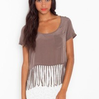 High Strung Silk Top - Mocha - NASTY GAL