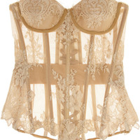 Rosamosario | Nudita Ricca Chantilly lace-trimmed tulle corset | NET-A-PORTER.COM