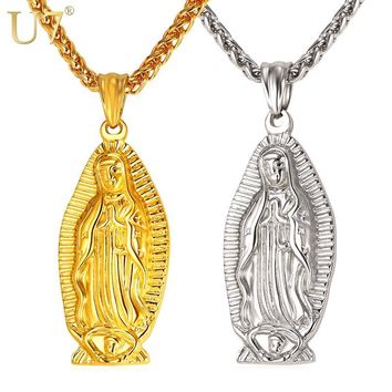 U7 Catholic Religious Mother Virgin Mary Pendant Necklace Vintage Gold Color Stainless Steel 2017 New Men/Women Jewelry P1062