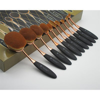 Rose Gold Brushes Tooth Shape Oval Makeup Set Multipurpose