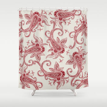 Paisley Stripe: Vintage RED  Shower Curtain by Eileen Paulino