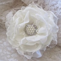 Ivory Satin Chiffon and Lace Wedding Flower Hair Clip Bride, Mother of the Bride Bridesmaids with Pearl and Rhinestone Accent