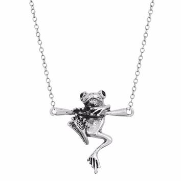 Baby Frog on a Branch Animal Charm Necklace