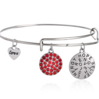 """Alex and Ani style letter """"hope、strength"""" pendant charm bracelet,a perfect gift !"""