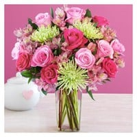 Deluxe All the Frills with Square Vase - Fresh Flowers