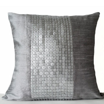 Decorative Throw Pillows -Grey color block in silk sequin bead detail cushion -sequin bead pillow -18X18 -Grey pillow -gift -Couch Pillows