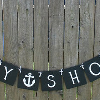 Baby Shower Banner with Anchors - Neutral / Nautical Banner / Baby Shower Decor / Baby Garland / Sign / Party Decor / Anchor Banner