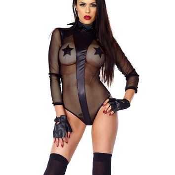 Fetish Micro Net Bodysuit With Faux Leather Shoulder & Front