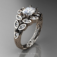 Art Masters Nature Inspired 14K Rose Gold 1.0 Ct Oval White Sapphire Diamond Leaf and Vine Solitaire Ring R267-14KRGDWS