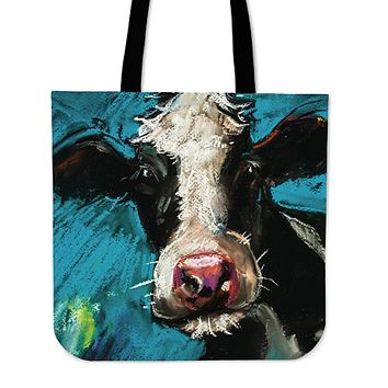 Cow Painting Linen Tote Bag - Promo