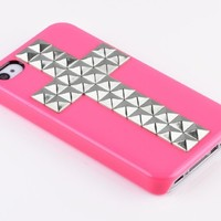 LliVEER Hot Pink iphone 4/4S Fashion Silver Cross Pyramid Punk Style Studs And Spikes Case Protector Cover Skin for Apple iPhone 4 4G 4S