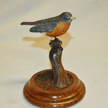 Robin Miniature Wood Carving- handmade hand carved bird figurine birder gift wood carving  bird carving wedding gift father's day bird gift